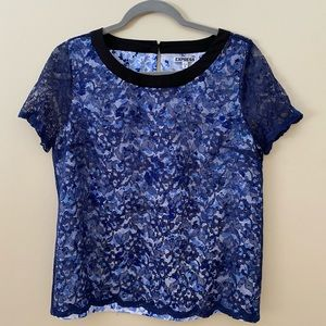 Express Floral Blouse with Blue Lace Overlay